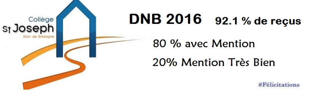 DNB 2016 Bain-de-Bretagne résultats