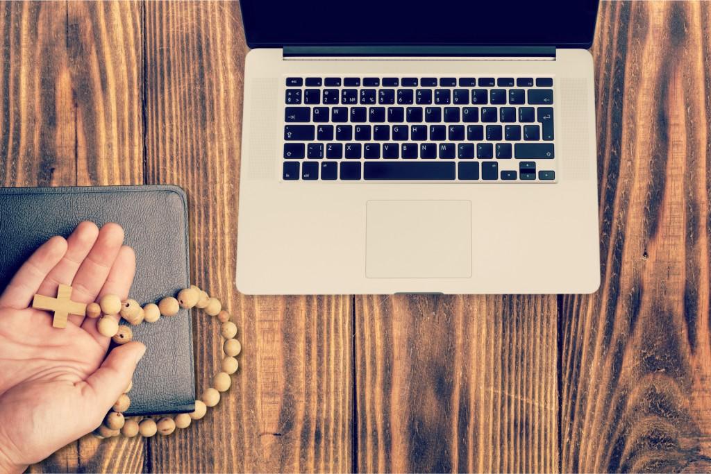 Computer bible cross catholic christian digital laptop